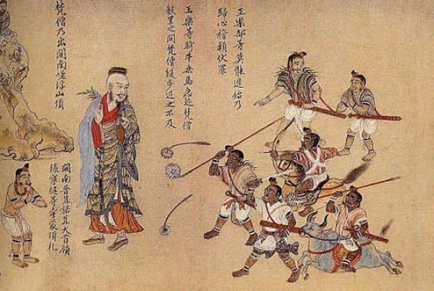 Extracto del pergamino de Nanzhao Tujuan: los budistas de Nanzhao se representan como personas de piel clara, mientras que los no budistas se representan como personas rebeldes de baja estatura. (Dominio público)