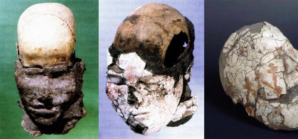 Las caras moldeadas en los cráneos a menudo estaban cubiertas con una fina capa de yeso pintada con adornos. (Imágenes: Elga Vadetskaya, Museo Estatal del Hermitage)
