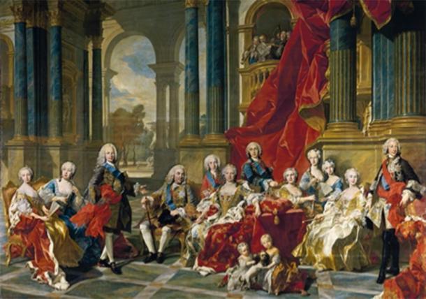 La familia de Felipe V, la Casa de Borbón, los nuevos gobernantes del Imperio español. (Tm / Dominio público)