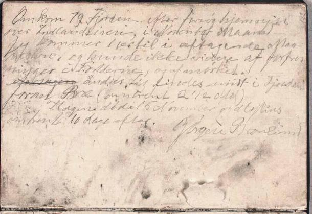La famosa nota de despedida de Brønlund. (Det Kongelige Bibliotek)
