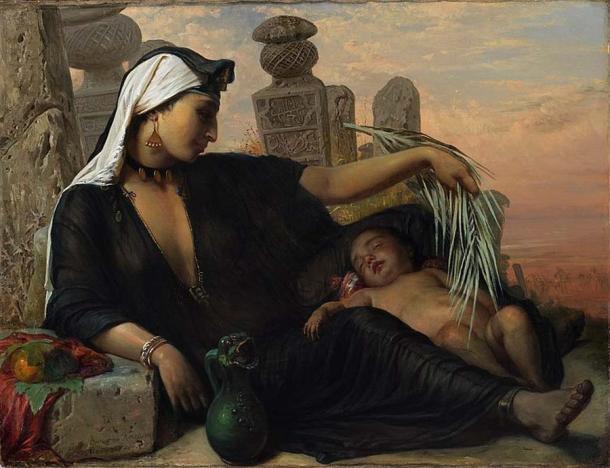 """""""Mujer egipcia fellah con su hijo"""", de Elisabeth Jerichau-Baumann, 1872. (Dominio público)"""