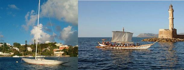 Casco de yate de fibra de vidrio hoy (Aodhdubh / CC BY SA 3.0) y reconstrucción de un barco minoico. (Zona de viaje)