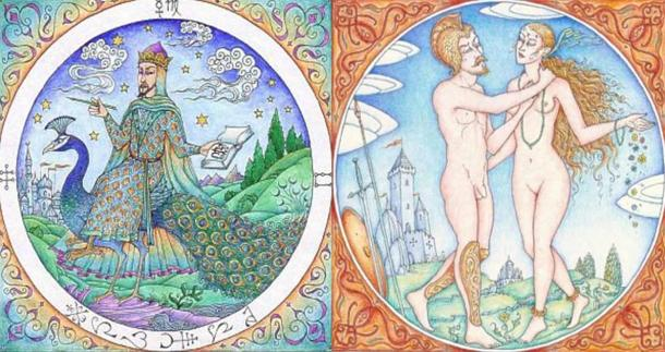 Izquierda: una escena de Picatrix.  Derecha: Marte y Venus.  Picatrix de la astrología de Eugenio Garin en el Renacimiento (Fuente)