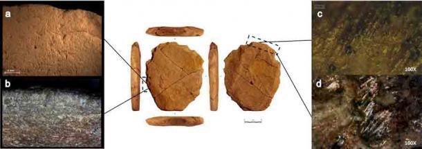 Fig 13. Análisis traceológico del artefacto # 255660. La forma octogonal de la herramienta de piedra prehistórica Vale da Pedra Furada sugiere fuertemente que fue hecha por el hombre y que el suelo en el que se encontró se remonta a entre 27.600 y 24.000 años atrás, lo que desafía las teorías actuales de cuándo las personas llegaron por primera vez a América del Sur o del Norte. (PLOS One)