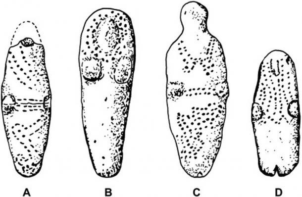 Figuras de arcilla seleccionadas de Basketmaker III que exhiben diseños punteados que pueden representar la decoración del cuerpo. (A) Segi Canyon, AZ. (B, C) Prayer Rock District, AZ. (D) Canyon de Chelly, AZ. (Gillreath Brown et al.)