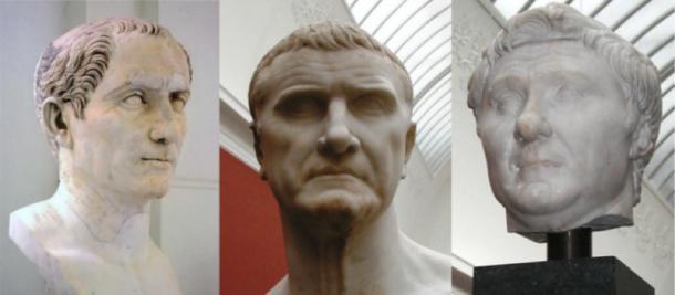 El primer triunvirato: Cayo Julio César, Marco Licinio Craso y Cneo Pompeyo Magnus. (Azrael42 / Dominio público)