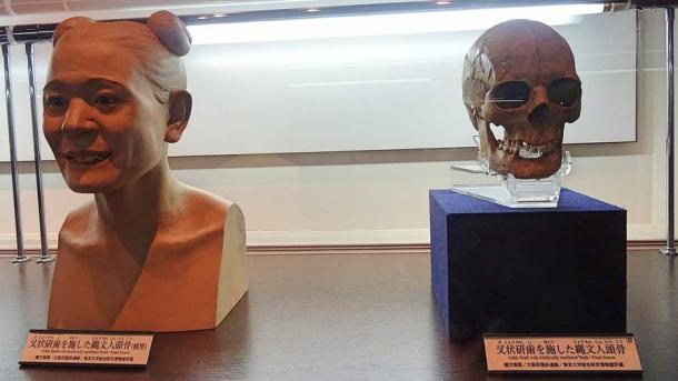 Reconstrucción forense y cráneo de una persona Jomon en Japón. (inazakira / CC BY-SA 2.0)