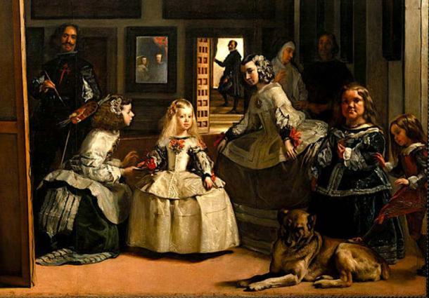 Foto de la familia de los Habsburgo, muestra a Felipe IV de España, Margarita Teresa de España, Diego Velázquez y Mariana de Austria. (Dcoetzee / Dominio público)