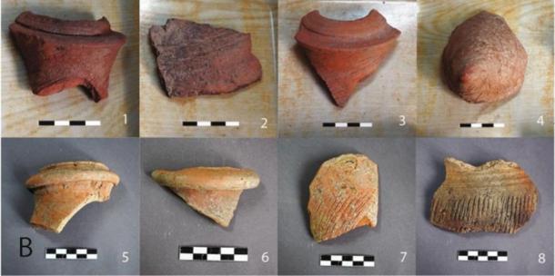 Fragmentos de ánforas encontrados en el sitio en la década de 1960 y examinados en el estudio. (Li Liu / Yongqiang Li / Jianxing Hou)