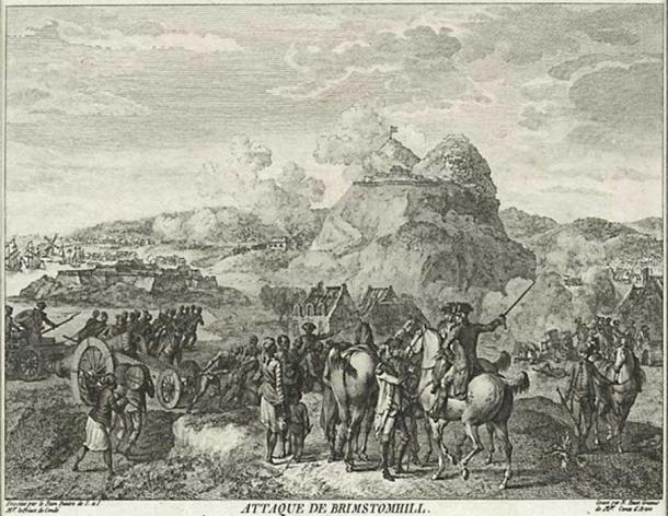 Grabado francés de la batalla de San Cristóbal, 1782 (dominio público)
