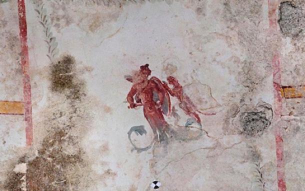 Fresco de un hombre armado siendo atacado por una pantera. (Ufficio Stampa Parco Archeologico del Colosseo)