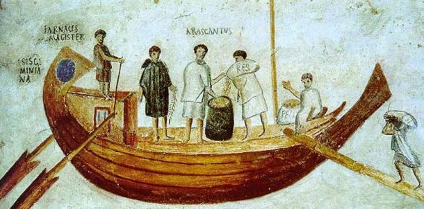 Fresco del siglo II / III d.C que representa un buque mercante romano. (Dominio publico)