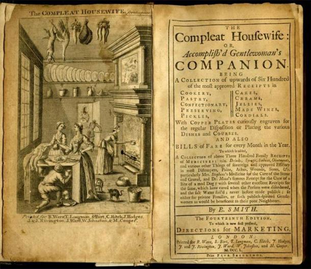Frontispicio y portada de El ama de casa completa o Achieve'd Gentlewoman's Companion por Eliza Smith. 14ª edición, 1750. (Publicado por primera vez en 1727). (Dominio público)