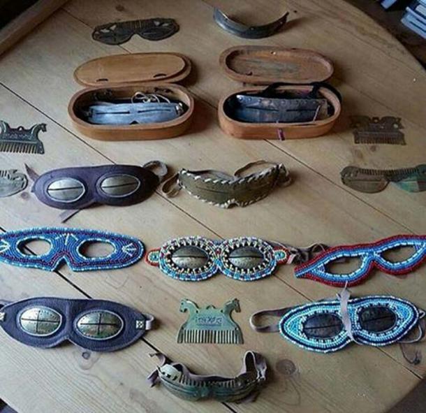 Gafas de nieve siberianas de todas las formas, materiales y colores. Imágenes: YakutCostume, los tiempos siberianos