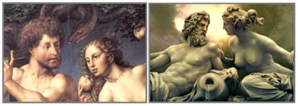 Génesis nombra a la primera pareja del antiguo jardín Adán y Eva... los griegos los llamaban Zeus y Hera. Izquierda: Adán y Eva en el paraíso por Jan Gossaert, 1527. Derecha: Zeus y Hera por Josef Tautenhayn, edificio del parlamento austríaco, Viena (dominio público)