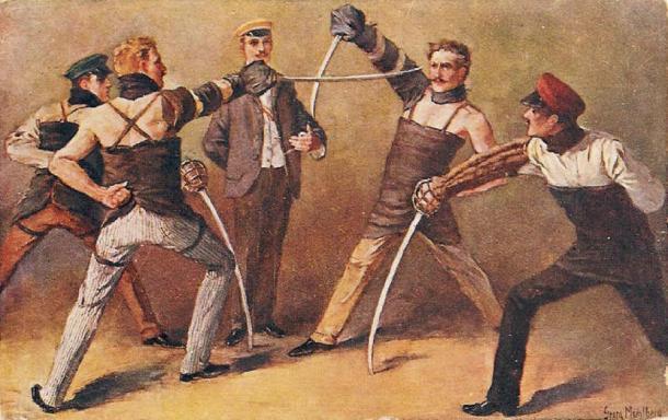 Estudiantes alemanes de un Burschenschaft luchando contra un duelo de sables, alrededor de 1900, pintura de Georg Mühlberg (1863–1925) (Dominio público)