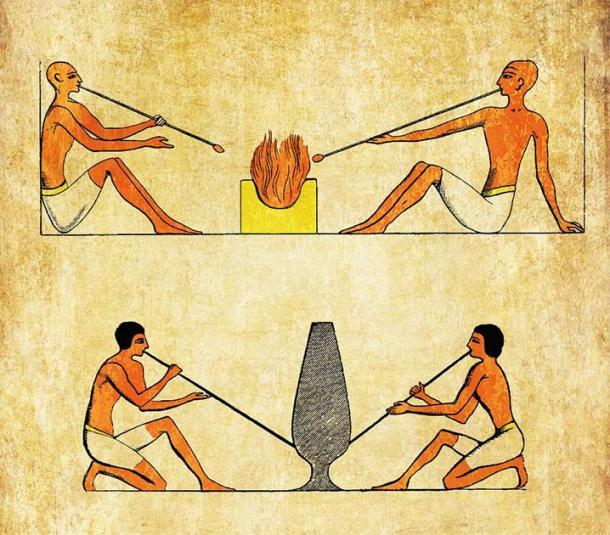 Sopladores de vidrio del antiguo Egipto. (acrogame / Adobe Stock)
