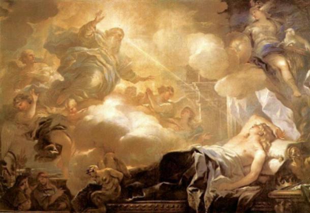 Dios le promete sabiduría a Salomón en un sueño. (Dominio público)