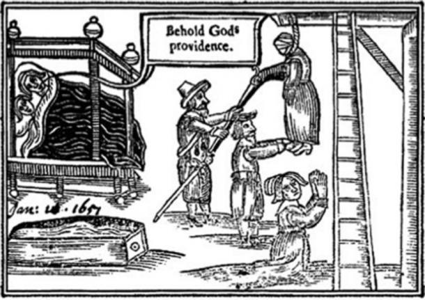 Grabado en madera de 'A Wonder of Wonder's que representa el ahorcamiento de Anne Greene. (GRuban / Dominio Público)