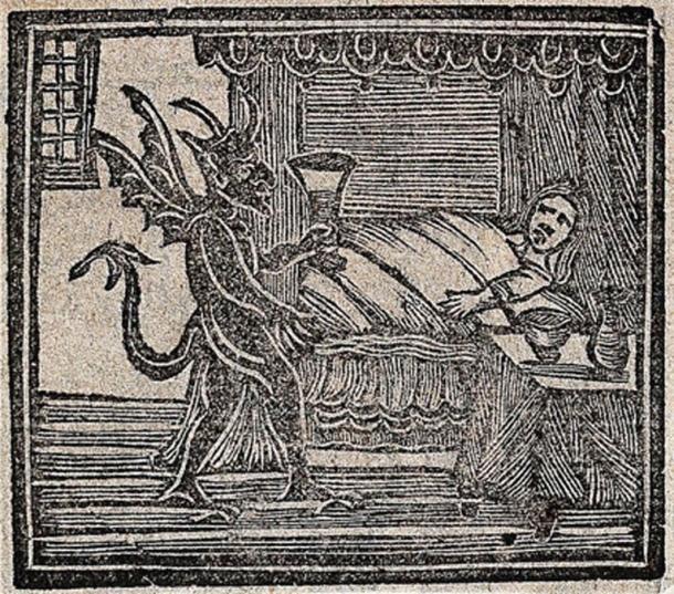Grabado en madera que representa la brujería: el diablo lleva la medicina a un hombre o una mujer en la cama. (Imágenes de Bienvenida / CC BY 4.0)
