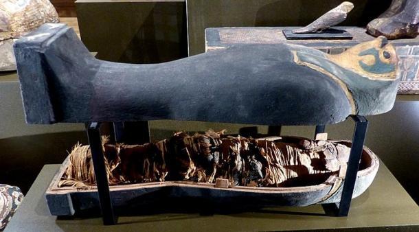 """Un ejemplo de una """"momia de grano"""" (600 - 400 a. C.) en forma del dios Horus (CC by SA 4.0 / Wolfgang Sauber)"""
