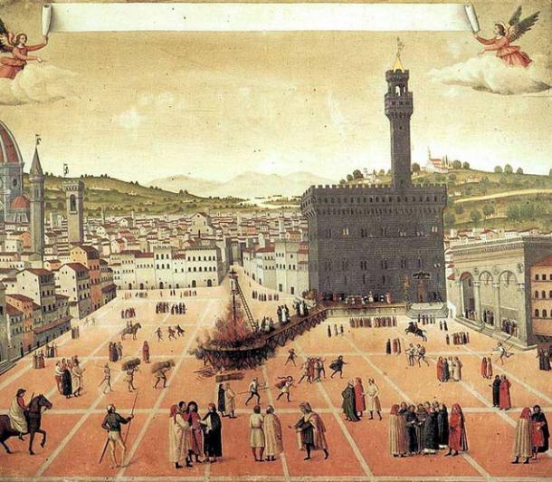 Colgado y quemado de Girolamo Savonarola en la Piazza della Signoria de Florencia en 1498. (Dominio público)