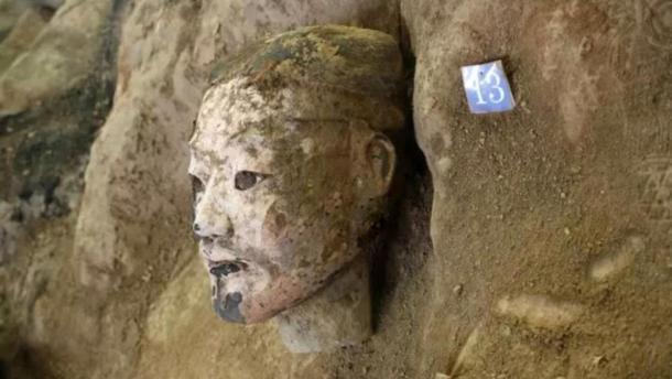 La cabeza de uno de los soldados recién descubiertos. Crédito: Emperador Qin Shi Mausoleo del Emperador