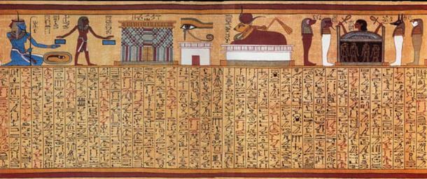 El hechizo místico 17, del papiro de Ani. La viñeta en la parte superior ilustra, de izquierda a derecha, al dios Heh como una representación del mar; una puerta de entrada al reino de Osiris; el ojo de horus; la vaca celestial Mehet-Weret; y una cabeza humana que se levanta de un ataúd, custodiada por los cuatro hijos de Horus. (La tierra / dominio público)
