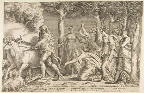 Hércules expulsando al ganado de Geryon, a la derecha están las ninfas de Hespérides. (Giulio Bonasone (c.1531) / Dominio público)