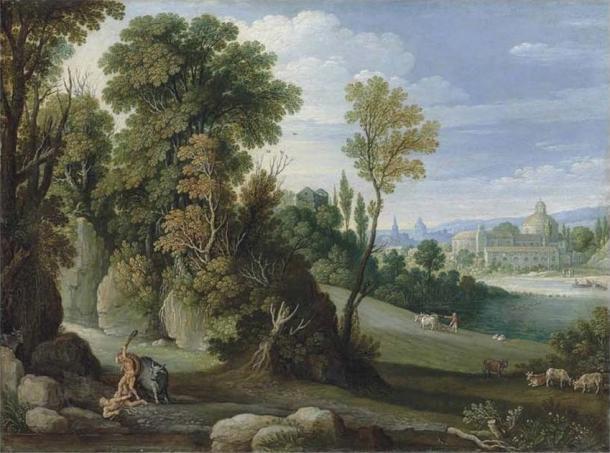Hércules golpeando a Caco con su garrote con el ganado detrás de él. (Marten Ryckaert / Dominio público)