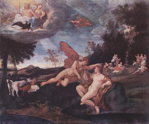 Hermes y Apolo con el ganado al fondo. (Francesco Albani / Dominio público)