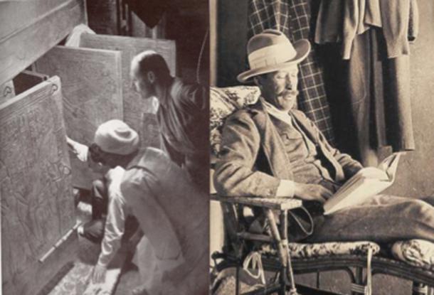A la izquierda, Howard Carter y sus asociados abren las puertas del santuario de la cámara funeraria de Tutankamon. A la derecha: la muerte de Lord Carnarvon después de la apertura de la tumba de Tutankamon dio lugar a muchas historias de maldición en la prensa. (Izquierda, dominio público; derecha, dominio público)