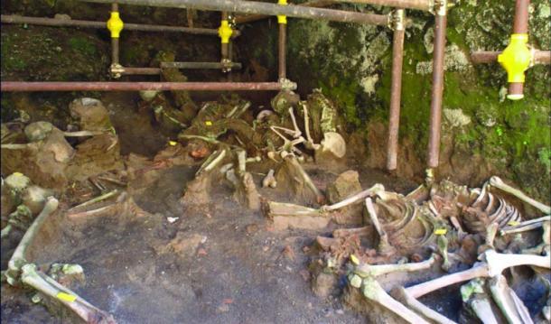 Los restos humanos in situ conservados dentro de una de las cámaras de piedra. (Rachelle Martyn et al, Antigüedad)