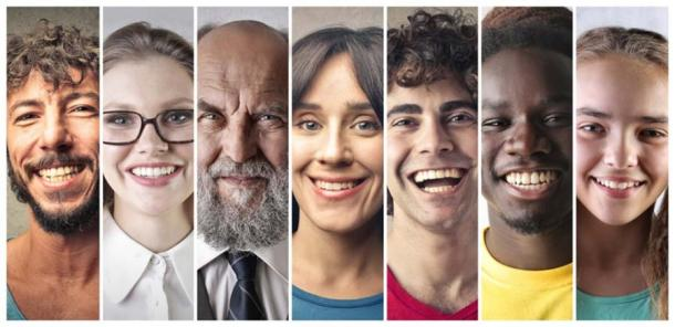 Los humanos de hoy en día sonríen, de diferentes orígenes (olly/ Adobe Stock)