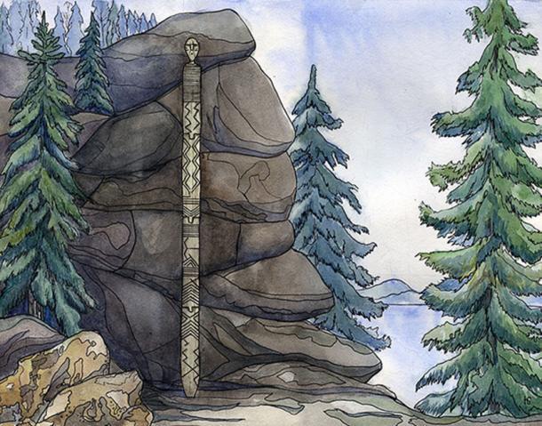 El ídolo impresionante es tres veces más viejo que las pirámides egipcias. Dibujos: Nina Belanova, Sasha Skulova. Imagen: Olga Gertcyk, Los tiempos de Siberia