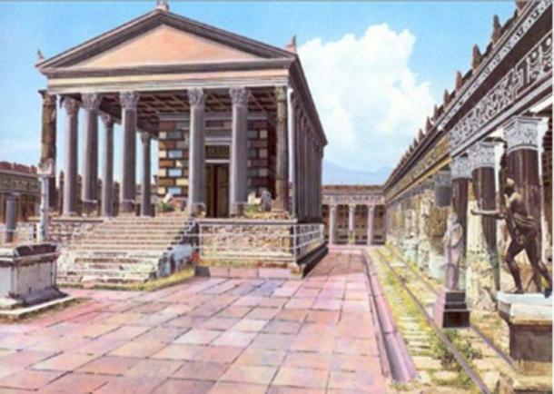 Reconstrucción ilustrada de cómo el Templo de Apolo en Pompeya pudo haberse visto antes de que el Monte Vesubio hiciera erupción. (DuendeThumb / CC BY-SA 3.0)