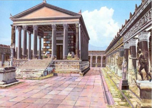 Reconstrucción ilustrada de cómo el Templo de Apolo en Pompeya pudo haberse visto antes del monte. El Vesubio entró en erupción. (CyArk / CC BY-SA 3.0)