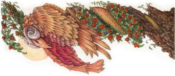 """Una ilustración de un zmaj con cuerpo de serpiente cabeza y de carnero, de Milenko Bodirogić de """"Hadas y dragones - Mitología serbio""""."""