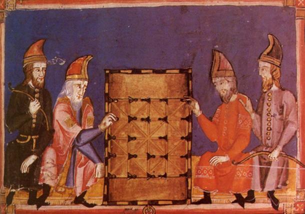 """Ilustración de alquerque en juego, del """"Libro de los juegos"""" (siglo XIII). (CC BY SA 4.0 )"""