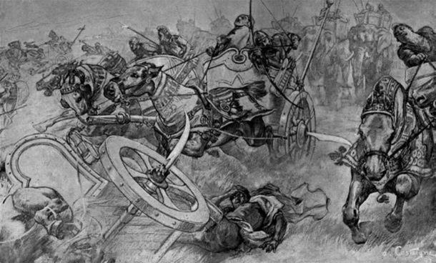 Ilustración de carros de guerra con aspas. (Dominio publico)