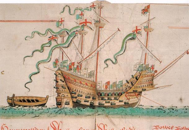 Ilustración de la nave Mary Rose para mostrar cómo podría haber sido. (Anthony Roll / Dominio público)