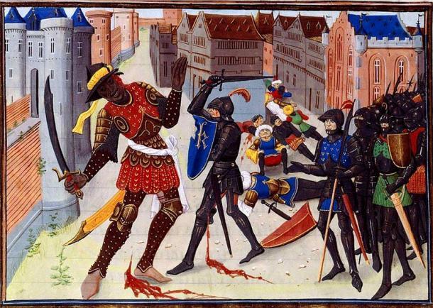 Ilustración de David Aubert, Maugis luchando contra los sarracenos en Aigremont, siglo XV (dominio público)