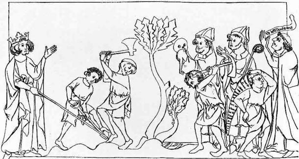 Ilustración de línea de los huesos de un santo desenterrados. (Wellcome Images / CC BY 4.0) El culto a los santos fue popular en Gran Bretaña en los siglos V y VI.