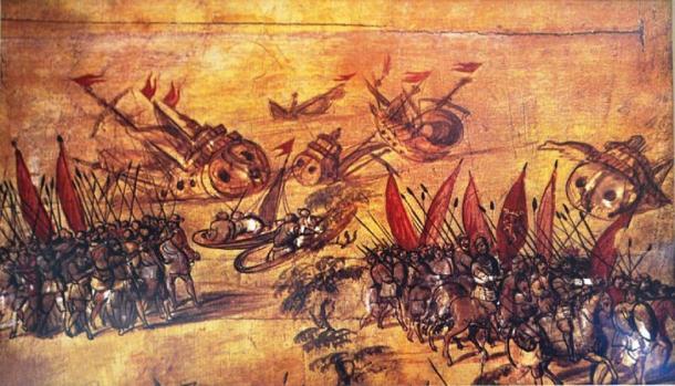 Imagen atribuida a Miguel González de Hernán Cortés hundiendo su flota frente a la costa de Veracruz. En exhibición en el Museo de Historia Naval de la Ciudad de México. (CC BY-SA 4.0)