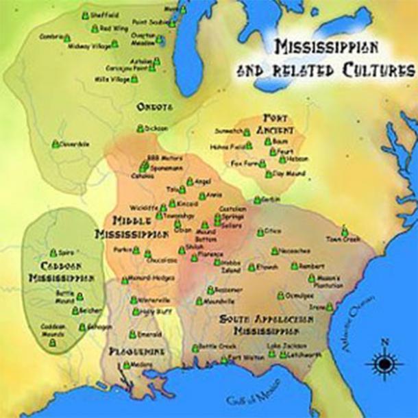 Mapa de las antiguas culturas de Mississippi y afines, donde se encontraba la tribu Cahokia. (Herb Roe)