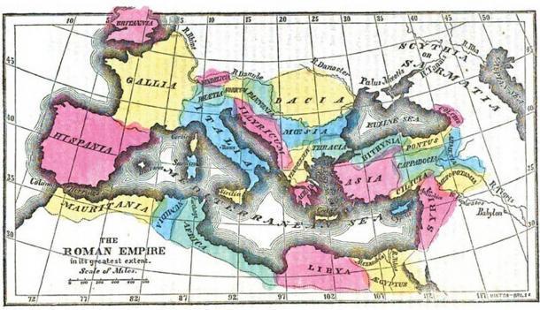 A medida que el Imperio Romano creció, la economía romana también desarrolló importantes sectores comerciales y manufactureros. Mapa del Imperio Romano en su mayor extensión. (Dominio publico)