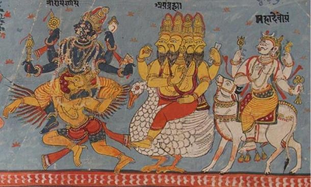 El Trimurti hindú: Vishnu, Brahma y Shiva sentados en sus respectivas monturas. (Dominio público)
