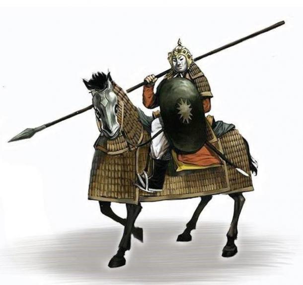 Dai Viet caballería pesada de la dinastía Tran (1225–1400 d.C). Tanto el caballo como el jinete tenían una armadura protectora. Wikimedia Commons