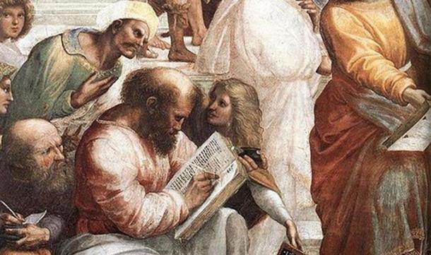 """Detalle de Pitágoras escribiendo de """"La escuela de Atenas"""". Por Rafael. (Dominio público)"""