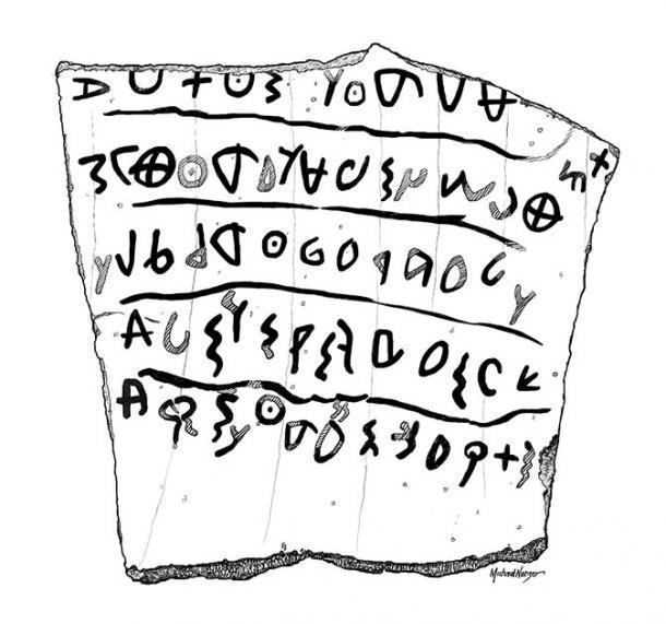 Así es como se ve un antiguo óstracon hebreo o una ostraca. Este óstracon en particular, una copia del artista de la vasija de cerámica original en la que se encontró, se conoce como Khirbet Qeiyafa Óstracon. Fue encontrado a 20 millas (30 km) al suroeste de Jerusalén. (MichaelNetzer / CC BY-SA 3.0)